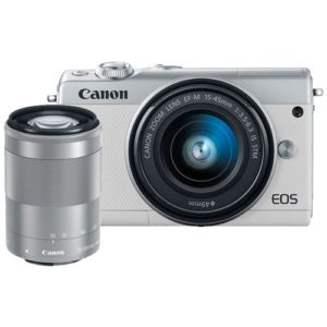 Canon EOS M100 24.2MP Digital Camera with EF-M 15-45mm & 55-200mm IS STM Lens (White)