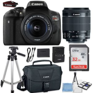 Canon EOS Rebel T6i 24.2MP DSLR Camera Bundle (Wi-Fi) with Canon EF-S 18-55mm f/3.5-5.6 IS STM Lens + Canon Camera Bag + 32GB Memory Card + Canon Deluxe Camera Bag + 50' Tripod + Camera Starter Kit