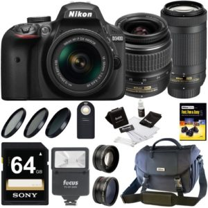 Nikon D3400 DSLR Camera + 18-55mm & 70-300 Lenses + Nikon Case + 64GB Card + Kit