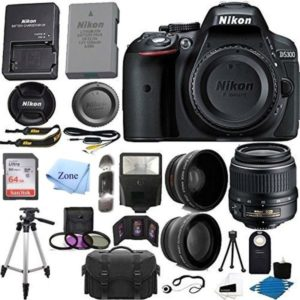 Nikon D5300 24.2 MP Digital SLR Camera w/ 18-55mm f/3.5-5.6G ED VR Auto Focus-S DX NIKKOR Zoom Lens +64GB SD + accessory Bundle