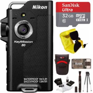 Nikon KeyMission 80 Action Waterproof Camera with 32GB Card and Accessory Bundle