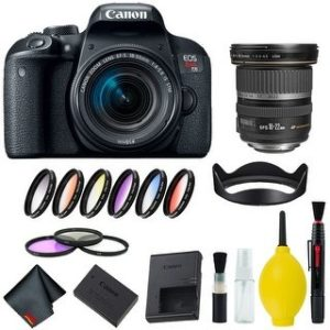 Canon EOS Rebel T7i DSLR Camera with 18-55mm Lens Bundle & Bonus 10-22mm Lens (International Model Bonus Lens) (9 Piece Filter)