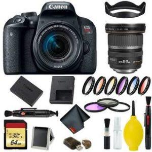 Canon EOS Rebel T7i DSLR Camera with 18-55mm Lens Bundle & Bonus 10-22mm Lens (International Model Bonus Lens) (9 Piece Filter w/ Memory)