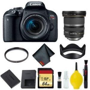 Canon EOS Rebel T7i DSLR Camera with 18-55mm Lens Bundle & Bonus 10-22mm Lens (International Model Bonus Lens) (Memory)