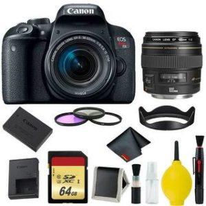 Canon EOS Rebel T7i DSLR Camera with 18-55mm Lens Bundle & Bonus 100mm Lens (International Model Bonus Lens) (3 Piece Filter w/ Memory)