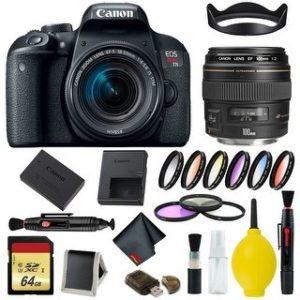 Canon EOS Rebel T7i DSLR Camera with 18-55mm Lens Bundle & Bonus 100mm Lens (International Model Bonus Lens) (9 Piece Filter w/ Memory)