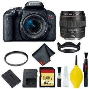 Canon EOS Rebel T7i DSLR Camera with 18-55mm Lens Bundle & Bonus 100mm Lens (International Model Bonus Lens) (Memory)