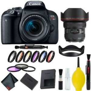 Canon EOS Rebel T7i DSLR Camera with 18-55mm Lens Bundle & Bonus 11-24mm Lens (International Model Bonus Lens) (9 Piece Filter)