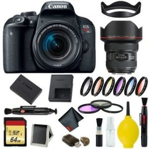 Canon EOS Rebel T7i DSLR Camera with 18-55mm Lens Bundle & Bonus 11-24mm Lens (International Model Bonus Lens) (9 Piece Filter w/ Memory)