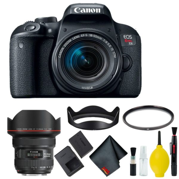 Canon EOS Rebel T7i DSLR Camera with 18-55mm Lens Bundle & Bonus 11-24mm Lens (International Model Bonus Lens) (Basic)
