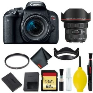 Canon EOS Rebel T7i DSLR Camera with 18-55mm Lens Bundle & Bonus 11-24mm Lens (International Model Bonus Lens) (Memory)