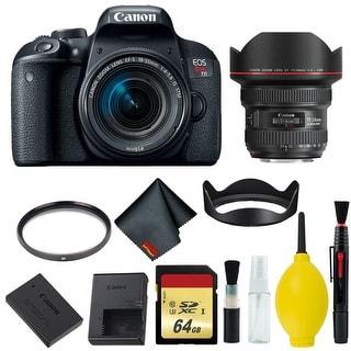 Canon EOS Rebel T7i DSLR Camera with 18-55mm Lens Bundle & Bonus 11-24mm Lens (International Model Bonus Lens) (Memory)