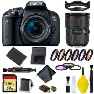 Canon EOS Rebel T7i DSLR Camera with 18-55mm Lens Bundle & Bonus 24-70mm Lens (International Model Bonus Lens) (9 Piece Filter w/ Memory)