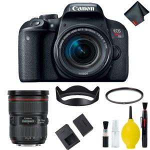 Canon EOS Rebel T7i DSLR Camera with 18-55mm Lens Bundle & Bonus 24-70mm Lens (International Model Bonus Lens) (Basic)