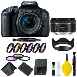 Canon EOS Rebel T7i DSLR Camera with 18-55mm Lens Bundle & Bonus 50mm Lens (International Model Bonus Lens) (9 Piece Filter)