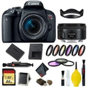 Canon EOS Rebel T7i DSLR Camera with 18-55mm Lens Bundle & Bonus 50mm Lens (International Model Bonus Lens) (9 Piece Filter w/ Memory)