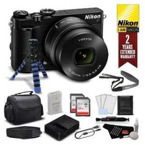 Nikon 1 J5 Mirrorless Digital Camera with 10-30mm Lens 27707 (Intl Model) - Bundle (black pro plus - w/ 2 year extended warranty)