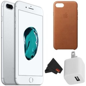 Apple iPhone 7 256GB - Silver (Unlocked) with Accessory Kit (leather brown case)