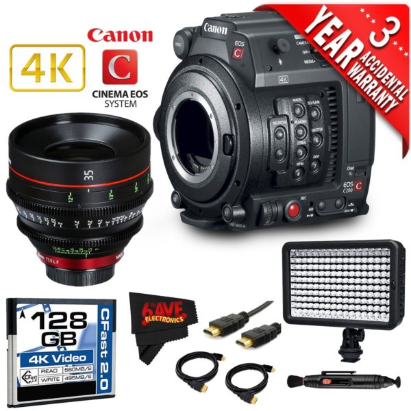 Canon EOS C200 Cinema Camera Intl Version with Canon 35mm Cine Lens (base)