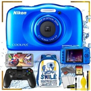 Nikon Coolpix W150 Digital Camera - Flowers (Intl Model) with Camera Cleaning Kit Bundle (Blue Back Pack Gaming Kit)
