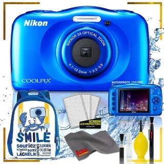 Nikon Coolpix W150 Digital Camera - Flowers (Intl Model) with Camera Cleaning Kit Bundle (Blue Back Pack Kit)