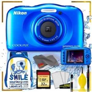 Nikon Coolpix W150 Digital Camera - Flowers (Intl Model) with Camera Cleaning Kit Bundle (Blue Back Pack Memory Kit)