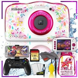Nikon Coolpix W150 Digital Camera - Flowers (Intl Model) with Camera Cleaning Kit Bundle (Pink Back Pack Gaming Kit)