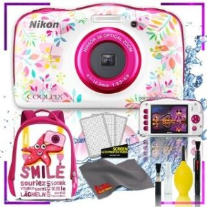 Nikon Coolpix W150 Digital Camera - Flowers (Intl Model) with Camera Cleaning Kit Bundle (Pink Back Pack Kit)