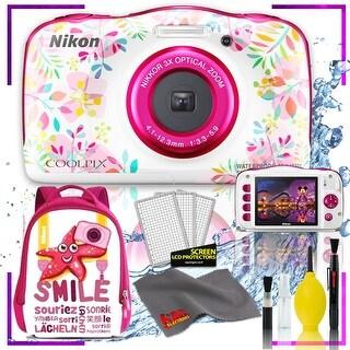 Nikon Coolpix W150 Digital Camera - Flowers (Intl Model) with Camera Cleaning Kit Bundle (Pink Back Pack Kit)