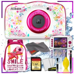 Nikon Coolpix W150 Digital Camera - Flowers (Intl Model) with Camera Cleaning Kit Bundle (Pink Back Pack Memory Kit)