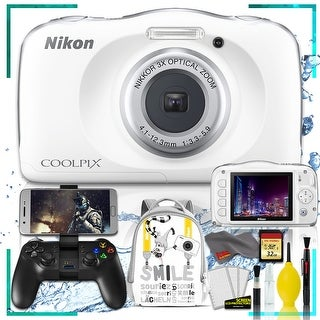 Nikon Coolpix W150 Digital Camera - Flowers (Intl Model) with Camera Cleaning Kit Bundle (White Back Pack Gaming Kit)