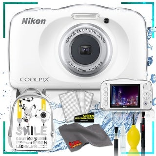 Nikon Coolpix W150 Digital Camera - Flowers (Intl Model) with Camera Cleaning Kit Bundle (White Back Pack Kit)