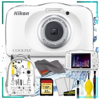 Nikon Coolpix W150 Digital Camera - Flowers (Intl Model) with Camera Cleaning Kit Bundle (White Back Pack Memory Kit)